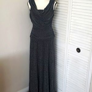 BLACK/SILVER Sleeveless Maxi Evening Gown